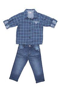 Conjunto kids em jeans e camisa tricoline