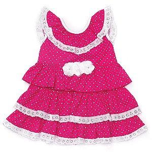 Vestido rosa com babado Anuska