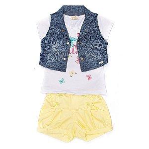 Conjunto Infantil em sarja, malha e jeans