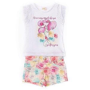 Conjunto 2 peças Anuska shorts colorido e blusa sereia