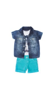 Conjunto Anuska 3 pçs bermuda azul, camisa jeans e blusa estampada