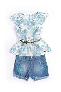 Conjunto Infantil Blue Flowers