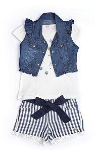 Conjunto 3 pçs Anuska shorts listrado com cinto de pano blusa estampada e colete jeans