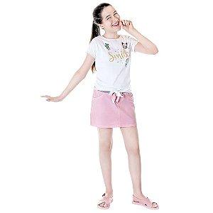 Saia rosa com punho e laço Julia Silva By Anuska