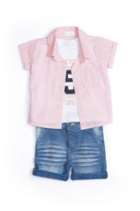 Conjunto bebê em jeans, malha e algodão