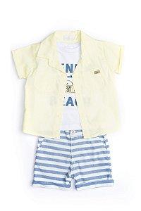 Conjunto Bebê menino em sarja, tricoline e malha