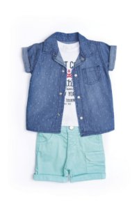 Conjunto 3 pçs Anuska bermuda azul camisa jeans e camiseta estampada