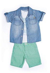 Conjunto 3 pçs Anuska bermuda verde camisa jeans e camiseta estampada