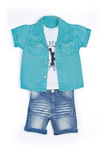 Conjunto 3 pçs Anuska bermuda jeans camisa azul e camiseta branca estampada