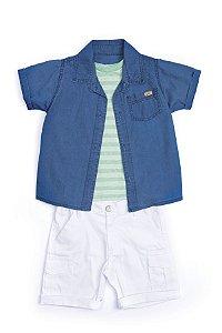 Conjunto 3 pçs Anuska bermuda branca camiseta verde listrada e camisa jeans