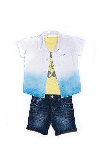 Conjunto 3 pçs Anuska bermuda jeans escura camiseta amarela e camisa branca e azul