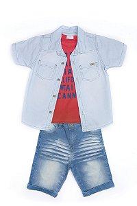 Conjunto Kids em jeans e malha