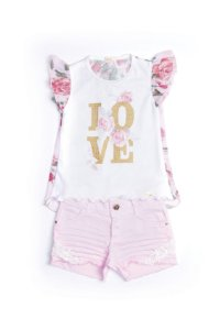 Conjunto shorts e blusa love Anuska