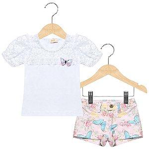 Conjunto shorts estampado e blusa com renda Anuska