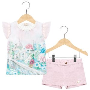 Conjunto blusa estampada e shorts rosa Anuska