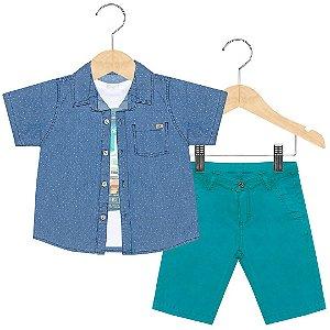 Conjunto menino 3 peças Anuska bermuda camisa e camiseta