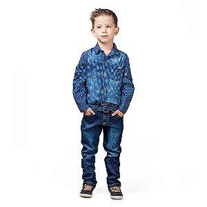 Conjunto Kids jeans com calça e camisa