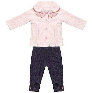 Conjunto bebê com legging e casaco flanelado