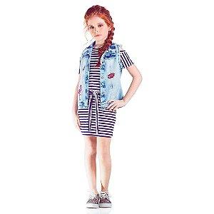 Vestido Listrado e colete patches