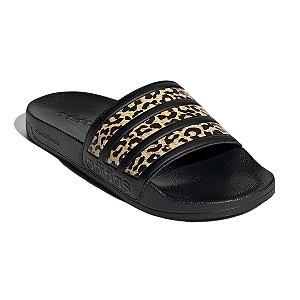 Chinelo Adidas Slide Adilette Shower Leopard Preto Feminino