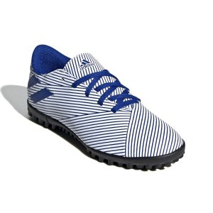 Chuteira Suíço Adidas Nemeziz 19.4 Branco/Azul Infantil