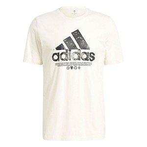 Camiseta Adidas Grafica Essentials Logo Amarelo Masculino