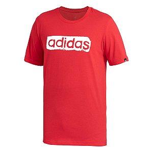 Camiseta Adidas Estampada Linear Vermelho Masculino