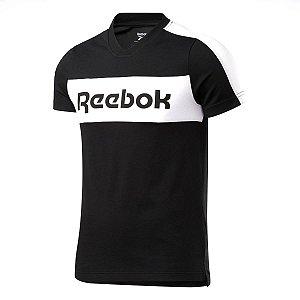 Camiseta Reebok Te Ll Ss Graphic Preto/Branco Masculino