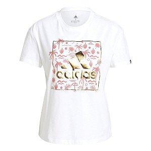 Camiseta Adidas Estampada Floral Branco/Rosa Feminino