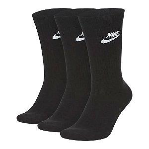 Kit 3 Meias Nike Cano Alto Everyday Crew Preto 39-43