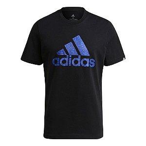 Camiseta Adidas Sereno Print Preto/Azul Masculino