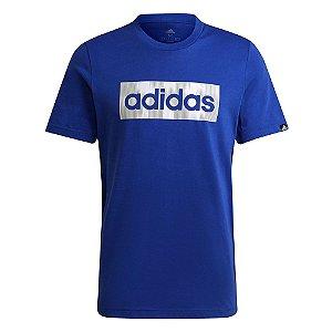 Camiseta Adidas Linear Color Box Azul/Branco Masculino