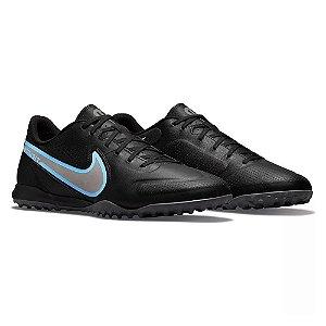 Chuteira Society Nike Tiempo Legend 9 Academy Preto/Azul Masculino