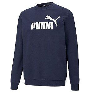 Moletom Puma Big Logo Crew Tr Azul Marinho Masculino