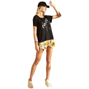Camiseta Colcci Detalhe Tela Preto Feminino
