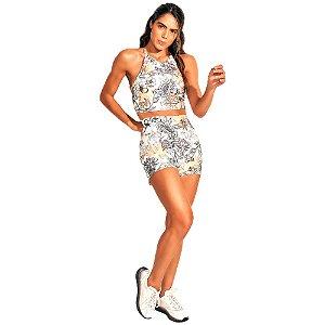 Bermuda Colcci Slim Branco/Laranja Feminino