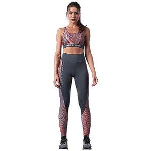 Conjunto Colcci Top/Calça Slim Estampada Cinza Escuro Feminino