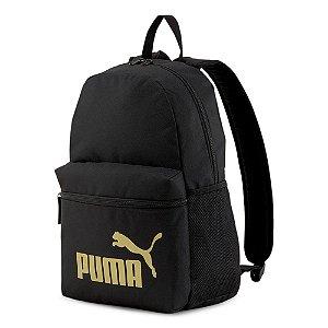Mochila Puma Phase Preto e Dourado Unissex