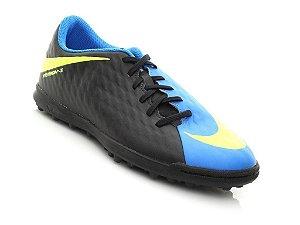 Chuteira Suíço Nike Hypervenomx Phade III Preto/Azul Infantil