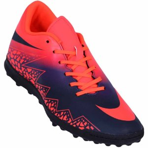 Chuteira Suíço Nike Hypervenomx Phade III Laranja/Marinho Infantil