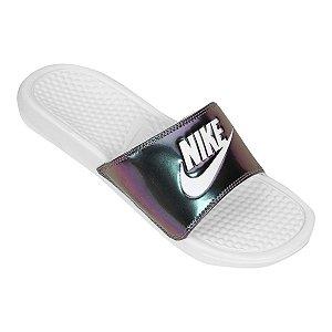 Chinelo Nike Slide Benassi JDI Metalizado Branco/Frutacor
