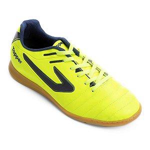 Chuteira Futsal Salão Topper Boleiro Amarelo Neon/Marinho