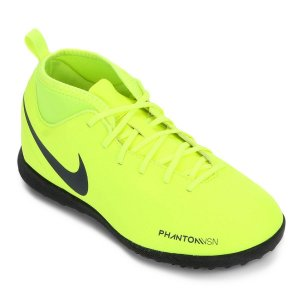 Chuteira Society Nike Phantom Vision Club Tf Verde Limão Infantil