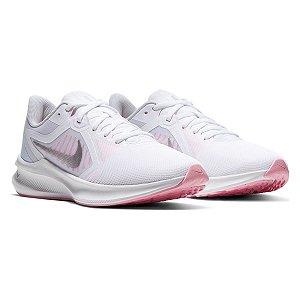 Tenis Nike Downshifter 10 Branco/Rosa Feminino