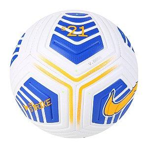 Bola Campo Nike Strike CBF 2021 Branco/Azul/Amarelo