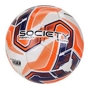 Bola Society Penalty Storm XXI Branco/Laranja/Azul