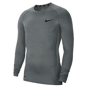 Camiseta Nike Manga Longa Nike Pro Top Ls Tight Cinza Masculino