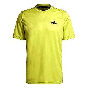 Camiseta Adidas Essentials Perf Logo Amarelo Masculino