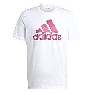 Camiseta Adidas Essentials Logo Branco/Rosa Masculino