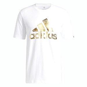 Camiseta Adidas Grafica Essentials Logo Branco/Dourado Masculino